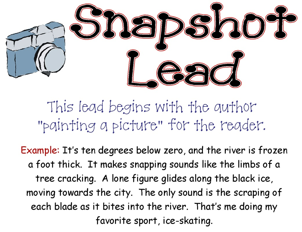 types of leads for essays Learn the four types of narrative leads draft 2 different leads for our slice of life edit our leads chose the best lead for our story imagery lead.